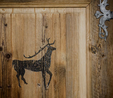 Door detail wood ski chalet
