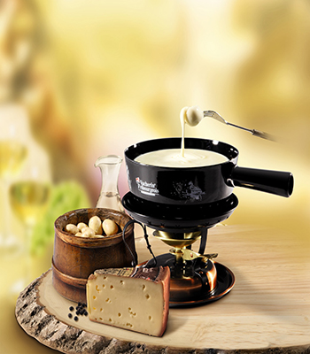A fondue set, for a traditional Swiss dish
