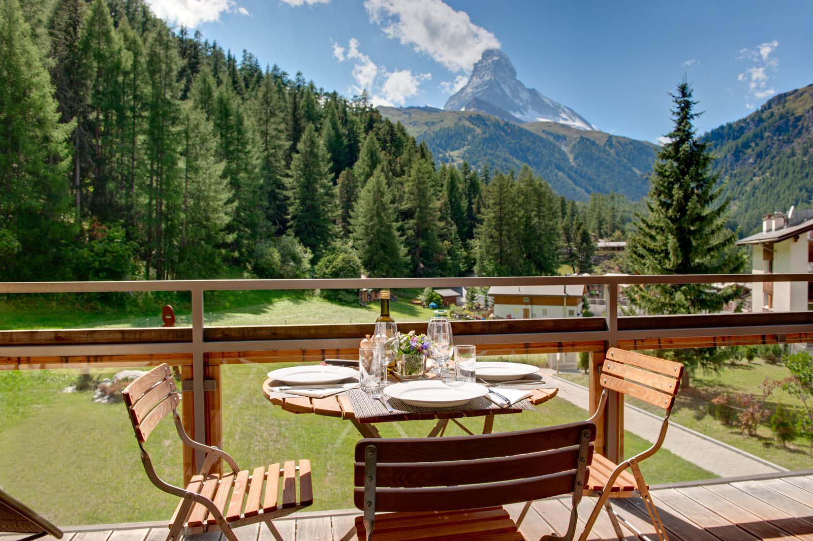 Chalet altesse balcony view in summer