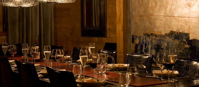 Dining at a luxury catered ski chalet