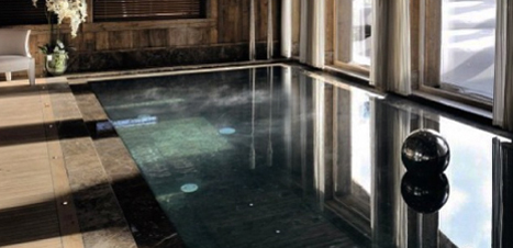 Indoor pool at a luxury chalet