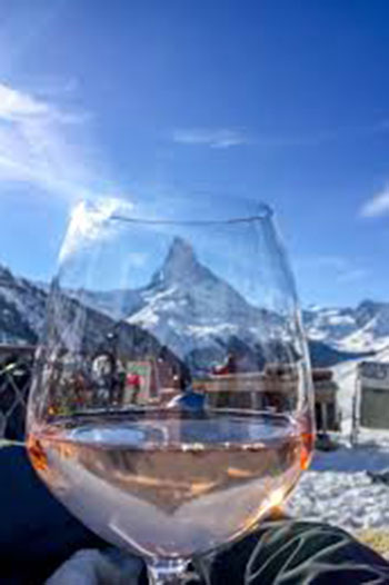 A clever shot of the Matterhorn through a wine glass