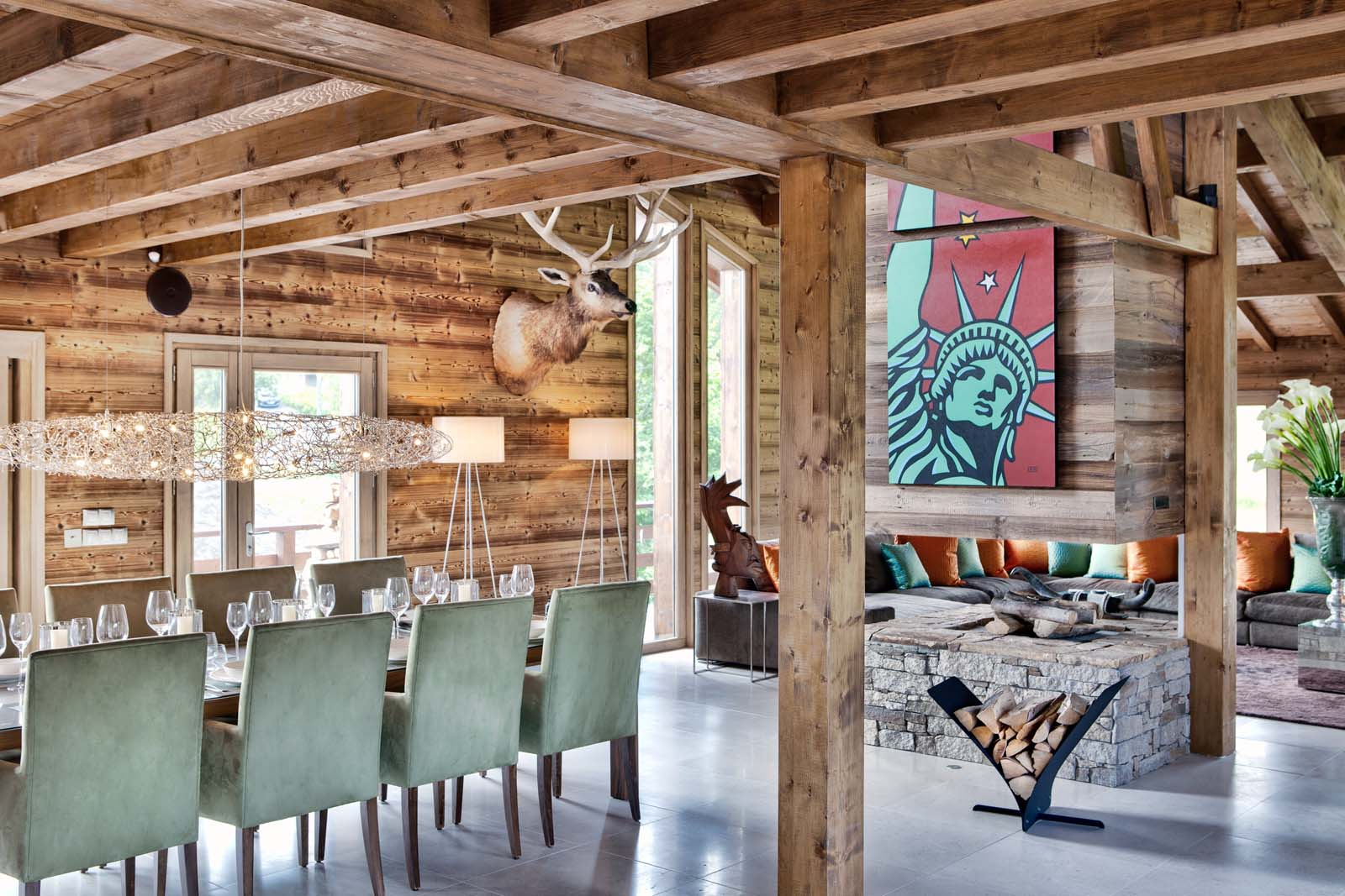 Chalet one oak in megeve by skiboutique for Deco interieur chalet montagne